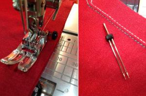 На машинке возможно шитье двумя иглами одновременно